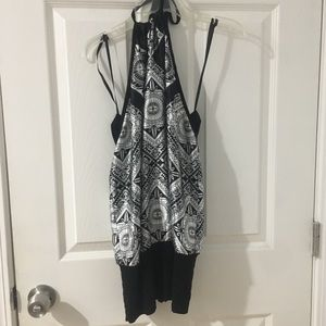 Black and white halter top/tunic/dress